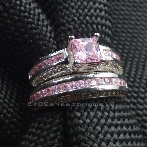 قطع الفاخرة بيع SZ5-10 الساخن الأميرة 10KT الذهب الأبيض ملأت الوردي الياقوت محاكاة الماس خاتم الزفاف هدية مع مربع