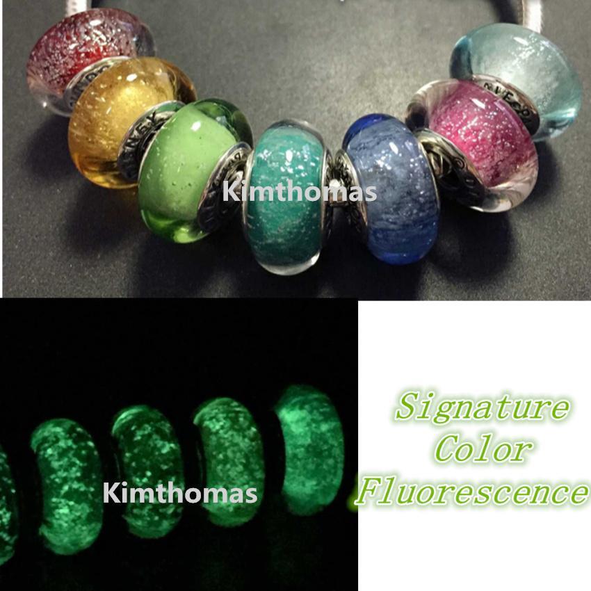 7pcs / lots 느슨한 비즈 수제 Lampwork 925 스털링 실버 형광 Murano Glass Charm Bead 맞는 유럽 판도라 쥬얼리 팔찌