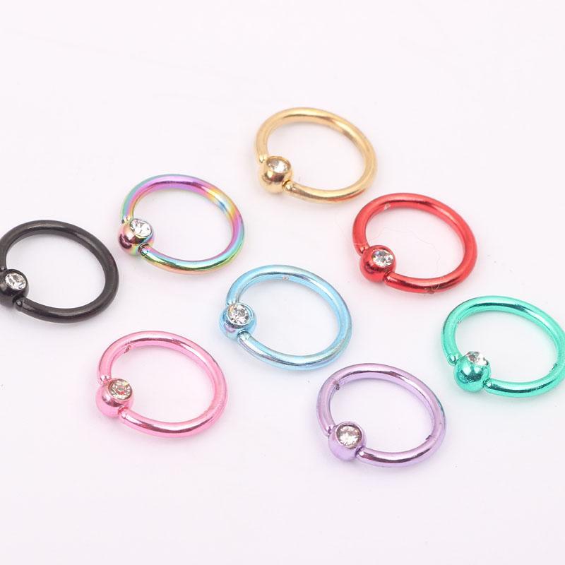 مزيج مجوهرات الجسم N22 8 ألوان 100pcs / lot الفولاذ المقاوم للصدأ الألوان مطلي الأنف ثقب المجوهرات