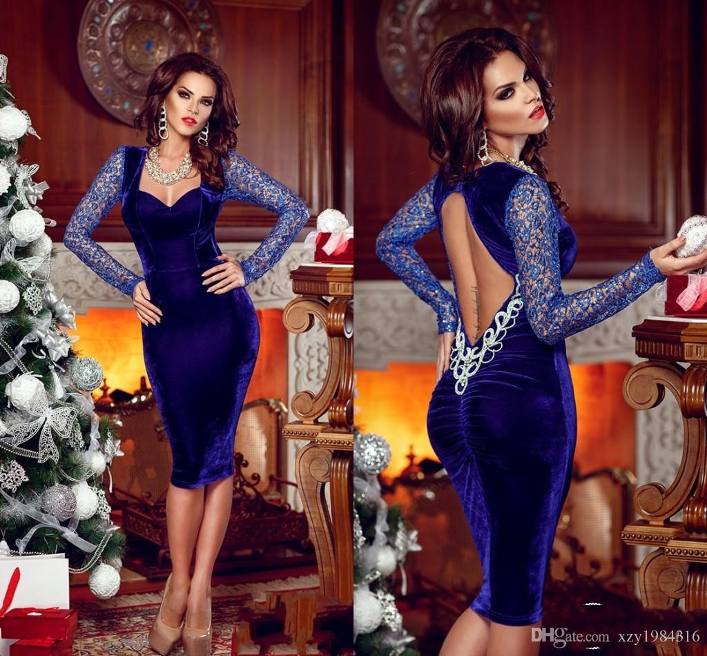 Royal Blue Velvet Prom Dresses 2015 Scoop Płaszcza krótkie suknie wieczorowe z rękawami Długość kolana Backless Sexy Kobiety Sukienki z kryształami