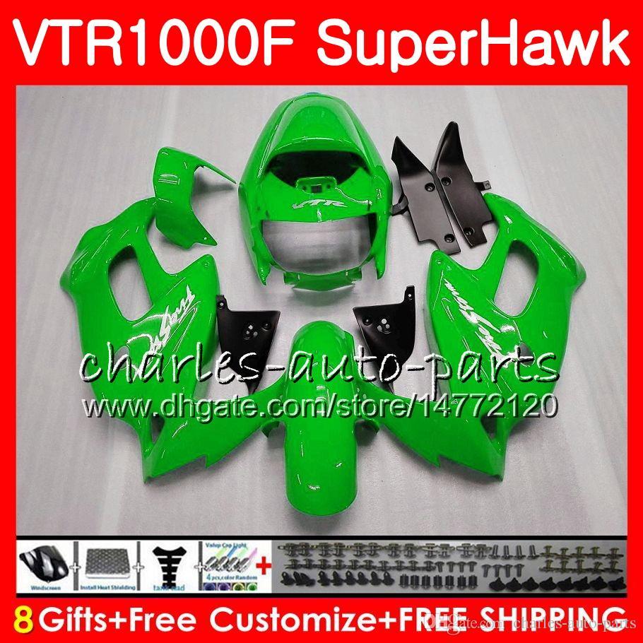 Gehäuse für HONDA VTR1000F SuperHawk 97 98 99 glänzend grün 00 01 02 03 04 05 91HM1 VTR 1000F 1997 1998 1999 2000 2002 2003 2004 2005 Verkleidung