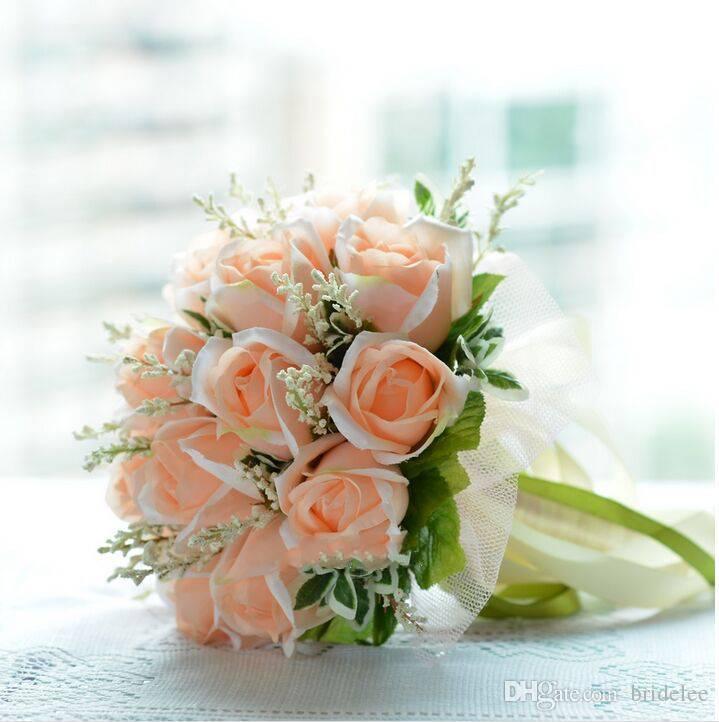 Emulational Şampanya Gül Gelin Düğün Holding Çiçek Gelin Düğün Buket 18 Çiçekler Bouque De Noiva