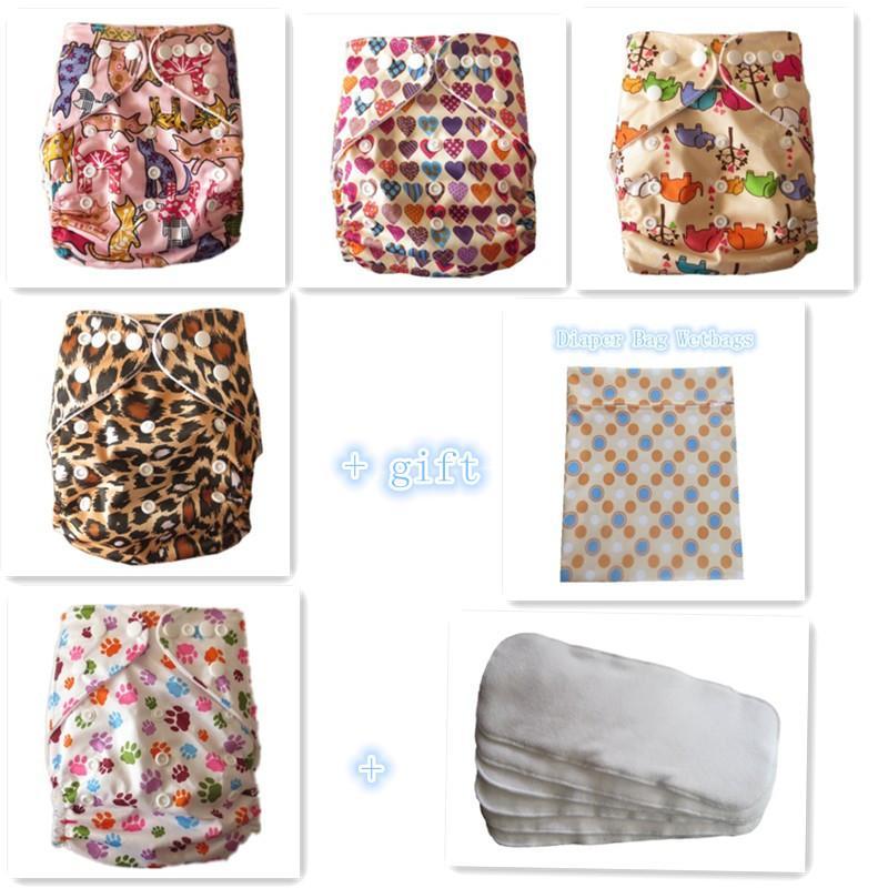 Freeshipping baby återanvändbar ficka tyg blöjor nappy 5pcs + 5 bambu terry insatser + 1 wetbag gratis gåva