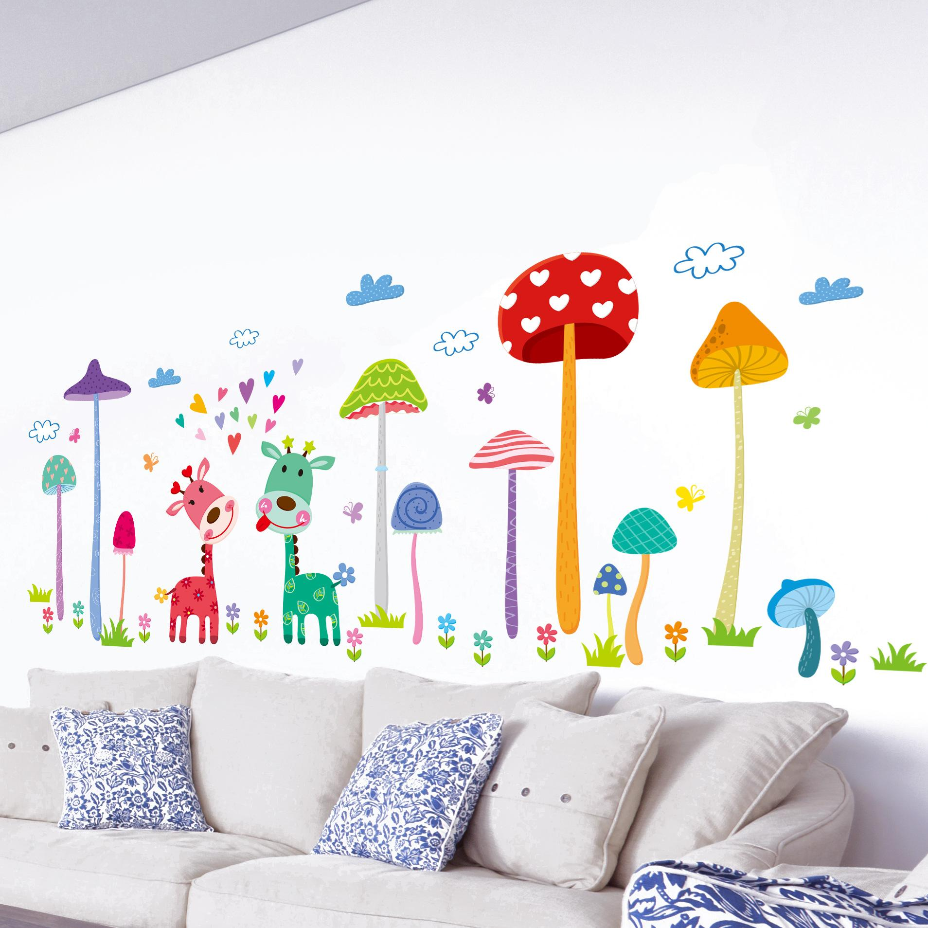 Forest Mushroom Deer Home Wall Art Mural Decor Kids Babies Room Nursery Lovely Animals Family Wallpaper Decoration Decal Wall Applique Adhesive Wall