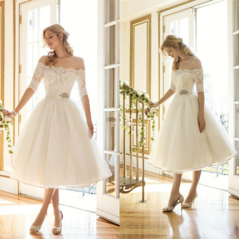 Discount Elegant Off The Shoulder Short Wedding Dress A Line Tea