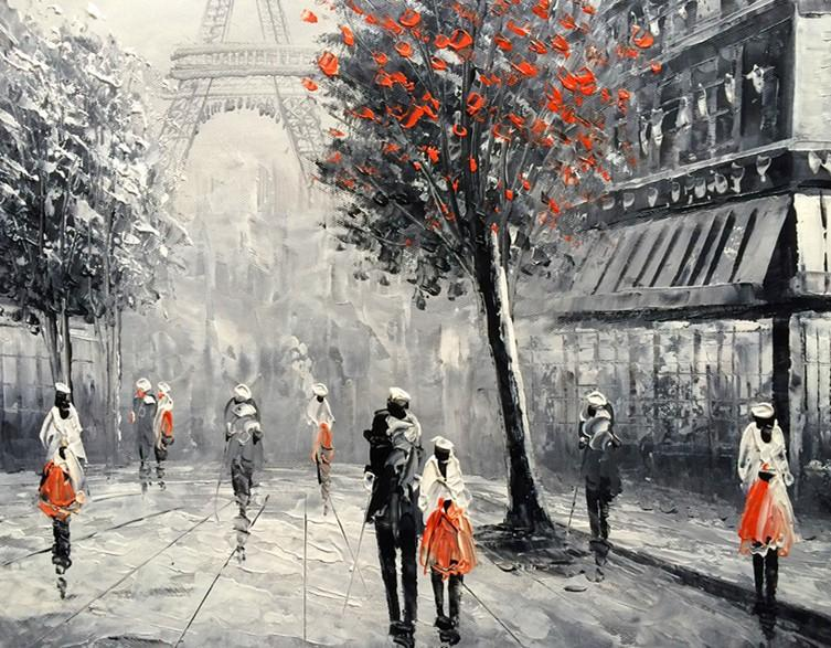 2018 Handpainted Oil Painting Black And White Red Eiffel Paris