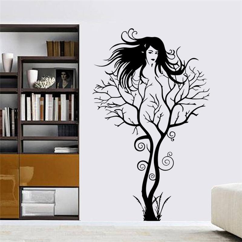 fille sexy stickers muraux bureau salon décoration zooyoo8464 bricolage branche vinyle adesivo de paredes maison stickers mual art