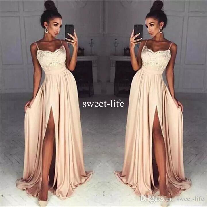 Fashion 2017 A Line Lace Prom Dresses Split A Line Chiffon Floor ...