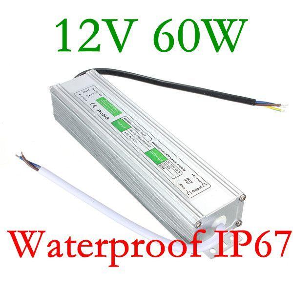 Edison2011 Small Size 60W High Quality Led Power Supply Waterproof IP67 DC 12V AC 90V-250V Led Transformer for LED Strip