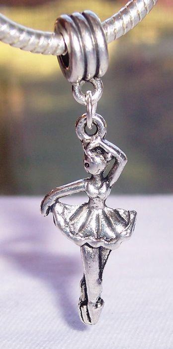 Hot ! 100pcs Antiqued Silver Ballerina Ballet Dancer Dance Dangle Bead for European Charm Bracelets 44 mm x 14 mm