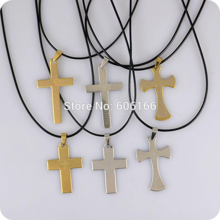 12 قطع الإنجليزية المقدس الرب الصلاة الصليب المقاوم للصدأ قلادة قلادة الأزياء والمجوهرات الدينية الكاثوليكية المسيحية بالجملة