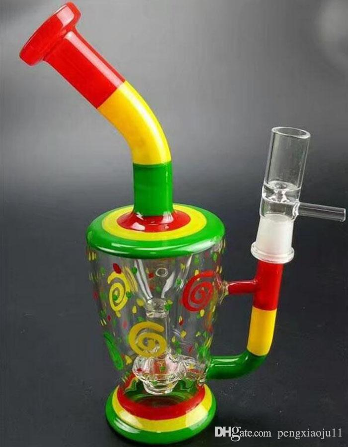 """14/"""" Glass Bong With Double Percolators available in red or yellow"""