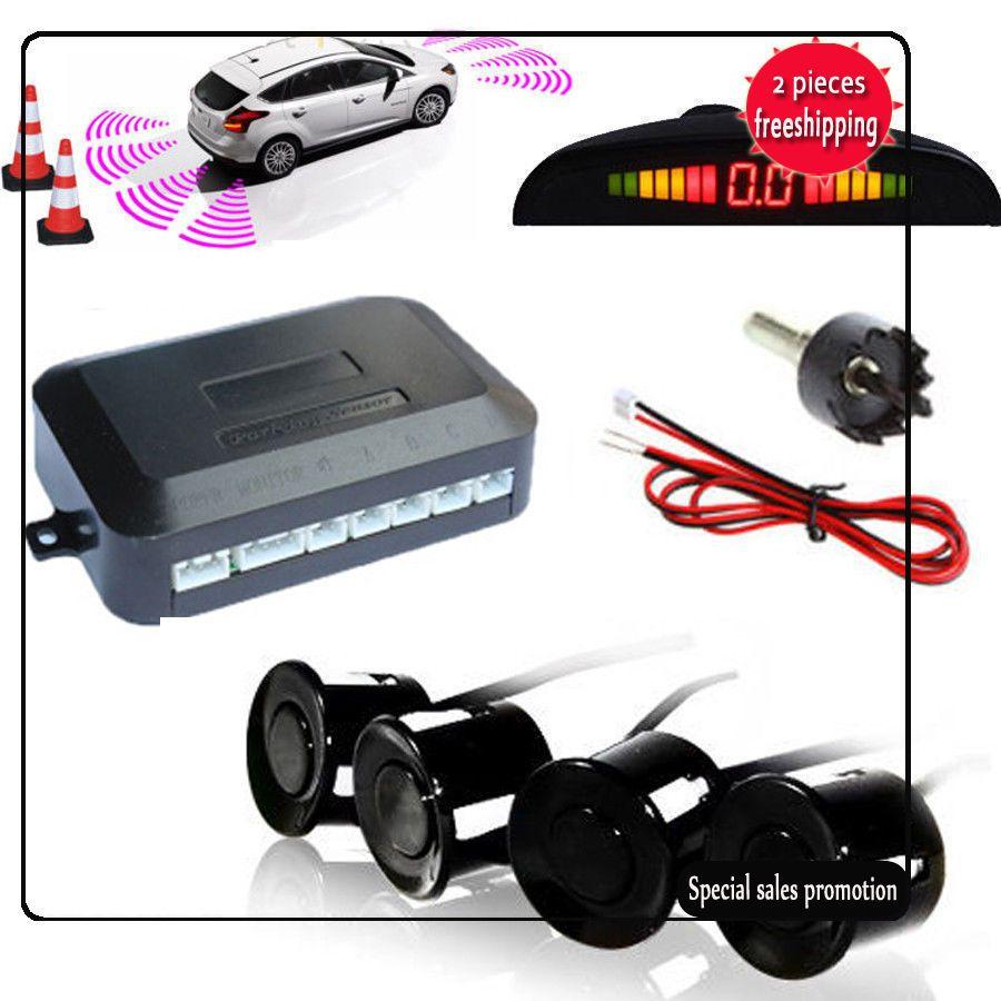 DC12V LED BIBIBI مواقف السيارات 4 مجسات السيارات السيارات عكس النسخ الاحتياطي الخلفية الطنان نظام رادار كيت صوت المنبه