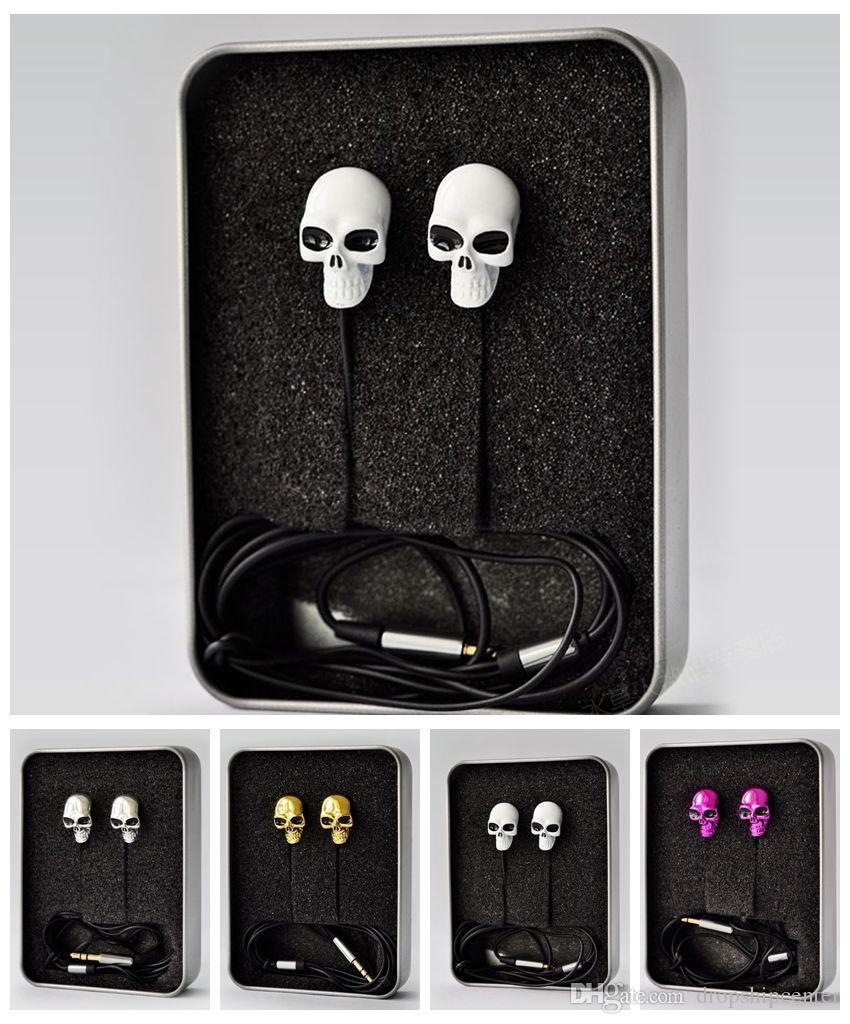 Czaszka Metal Mini Słuchawki Słuchawki Douszne Słuchawki Stereo Earbuds Sport Unikalny Design Słuchawki Słuchawki Darmowa Wysyłka