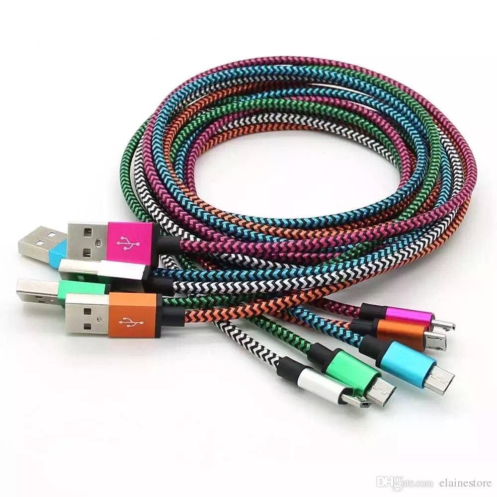 Tipo C USB 3.1 per tessuto S8 Treccia in nylon Cavo micro USB Cavo ininterrotto Connettore del caricabatterie Cavo in metallo Per Samsung S7 6 5, HTC, Telefono Android