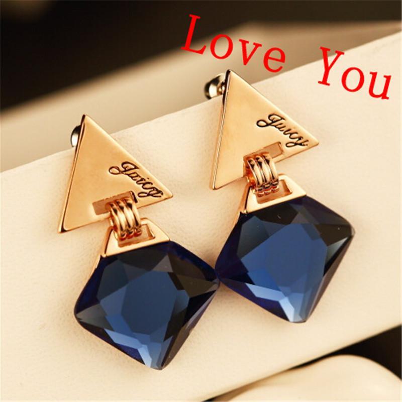 7e5f8aabf 2019 Fashion Women Drop Earrings Navy Blue Square Crystal Dangle Earrings  Celebrity Brand Earrings Korean Jewelry From Songpengchao, $16.2    DHgate.Com