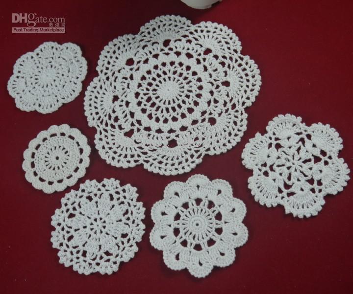 Venda por atacado - 100% algodão feito à mão crochê doily toalha de mesa, 6 desenhos personalizados, decoração de casamento crochet applique 30PCS / LOT ZJ001