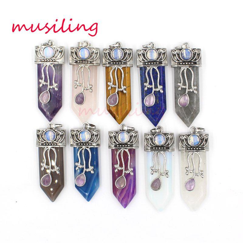 Sword Reiki Pendulum Pendant Necklace Chain Mens Gioielli in pietra naturale cristallo quarzo agata ecc. Europa e America Charms Amuleto Accessori