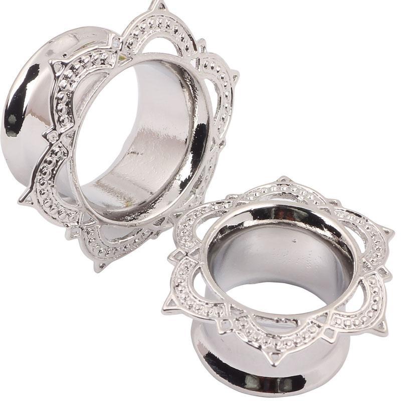 حار بيع جديد أزياء النحاس فضي اللون الأذن المقابس والأنفاق ثقب مقاييس هيئة المجوهرات نقالات 6 إلى 16 ملليمتر 60 قطع