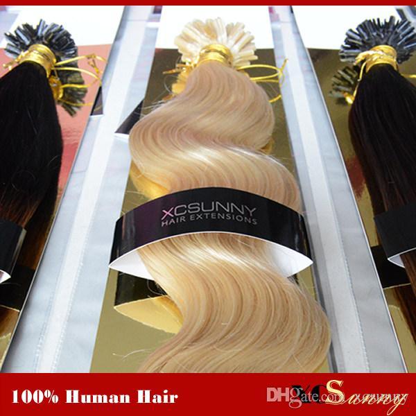 """XCSUNNY 18 """"20"""" 100g estensioni dei capelli della cheratina dei capelli della punta a U della cheratina 1g / s estensioni dei chiodi della cheratina dei capelli vergini brasiliani"""
