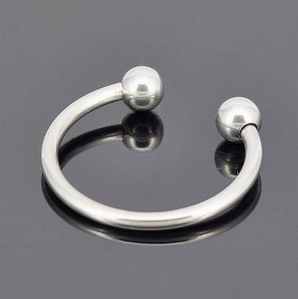 Wholesale,Stainless steel metal products,cock ring delay fun male sperm locking ring,male chastity device,Two Beads penis delay ring