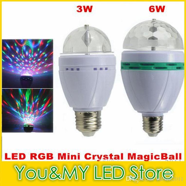 Edison2011 소매 3W 6W E27 RGB 조명 풀 컬러 LED 크리스탈 무대 조명 자동 회전 무대 DJ 램프 미니 무대 전구