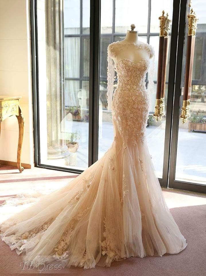 Real Image Long Sleeve Wedding Dress 2021 Bridal Gowns Sweetheart Stunning Lace Tulle Full length Mermaid Wedding Gown