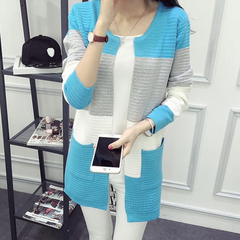 Vente en gros-2017 Nouveau Coton Polyester Cardigan Manteau Pour Femmes Coréen Mode Style Long Stitched Automne Hiver Lâche Jersey