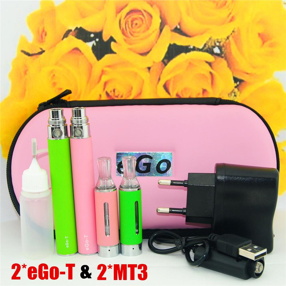 650-1100mah MT3 Electronic Cigarette ego Dual Starter Kit e cig ego Double e Cigarette with ego Battery usb charger Adapter and Zipper Case