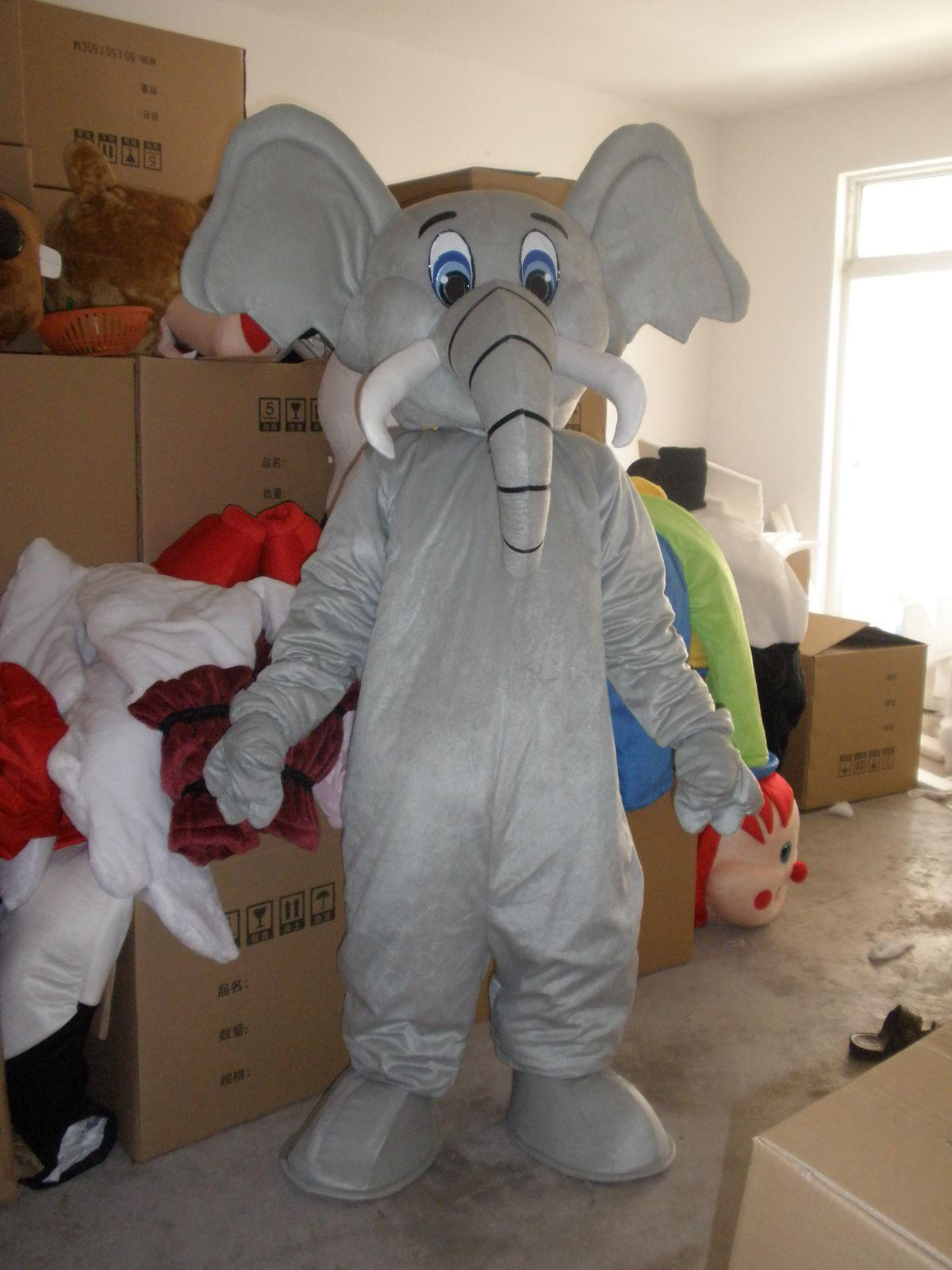 Hot Professional New Style Elephant Mascot Costume Fancy Dress Adult Size