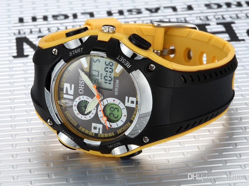 2017 New Ohsen Marke digitale Sportuhr Frauen Armbanduhr Kinder wasserdicht Gummiband fashion gelb Damen Uhren Horloge