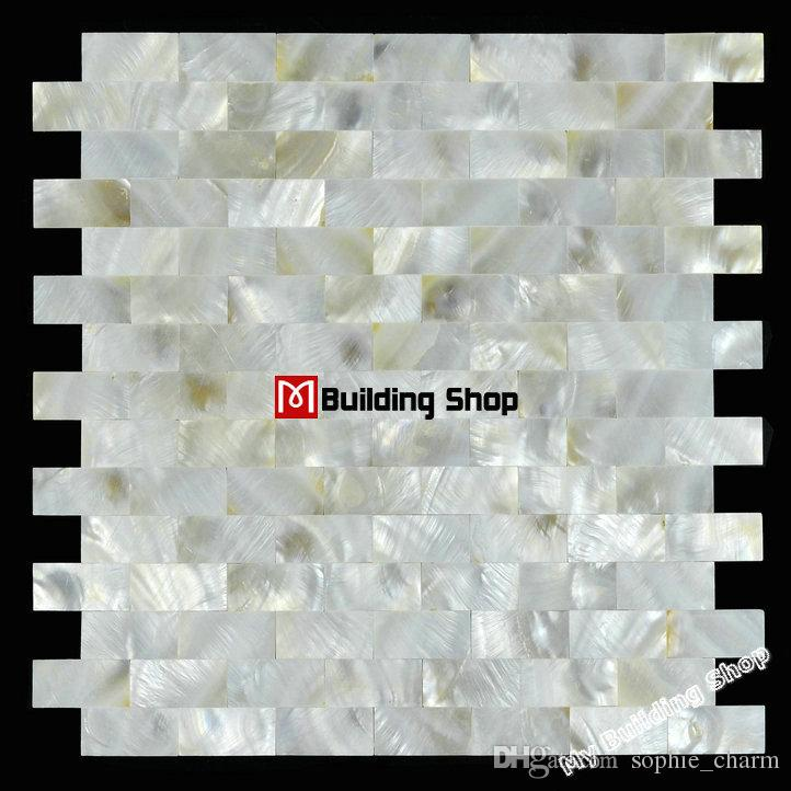 Brick groutless mother of pearl kitchen backsplash tiles MOP085 white pearl shell mosaic bathroom wall tiles