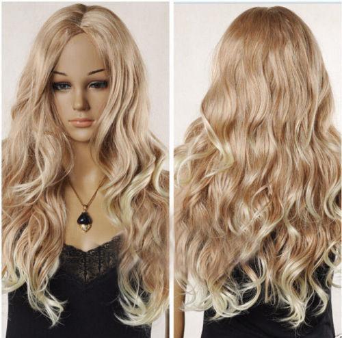 セクシーな女性の長い金髪の混合波状の巻き毛の天然髪のフルウィッグ+ウィッグギフト@@