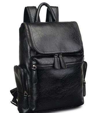Men Real Leather Black Backpack Hiking Travel Laptop Large Messenger School Bag
