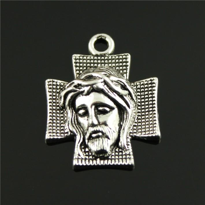 100pcs/lot 28*22mm vintage antique silver plated zinc alloy Jesus on the cross charms
