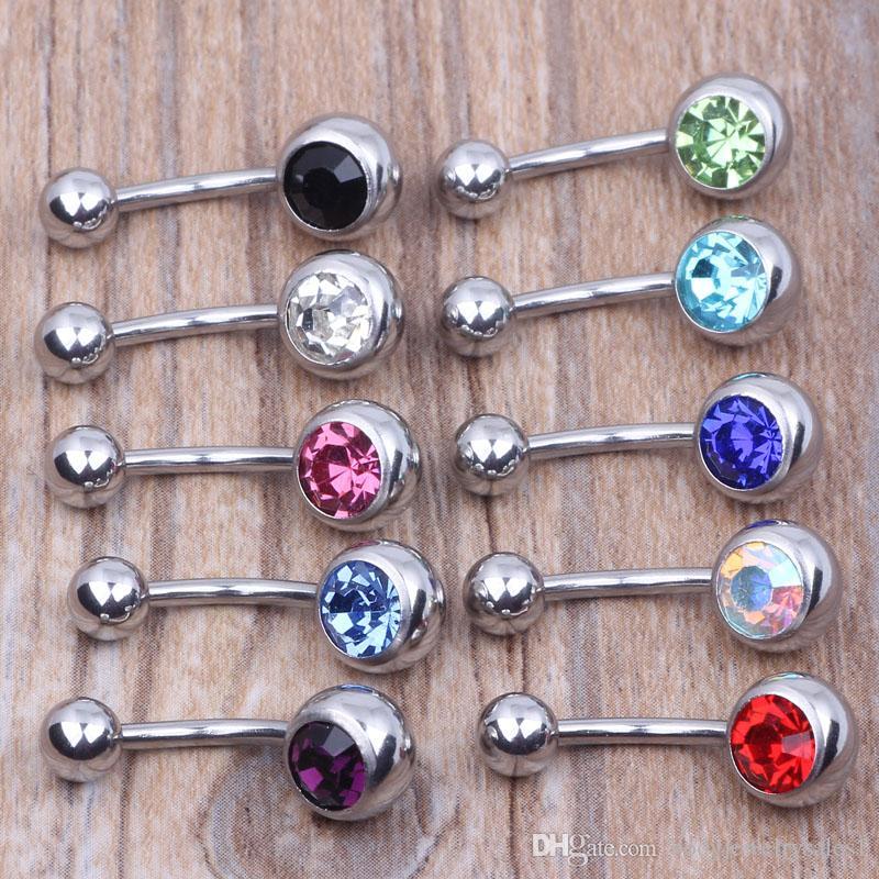 316L Chirurgenstahl Einkristall Strass Bauchnabelpiercing Piercing 50 TEILE / LOS Kostenloser Versand