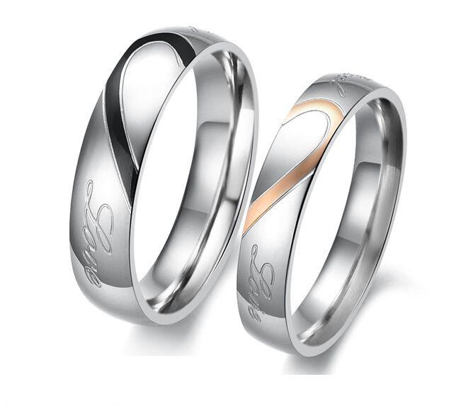 Monili di modo dell'acciaio inossidabile 316L d'argento a metà del cuore Cerchio semplice amore reale coppia anelli di nozze Anelli di fidanzamento regalo di San Valentino