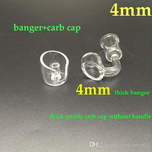 4mm thick quartz banger nail and carb cap without handle wholesale banger carb cap clear joint for oil rigs bongs 10mm 14mm 18mm