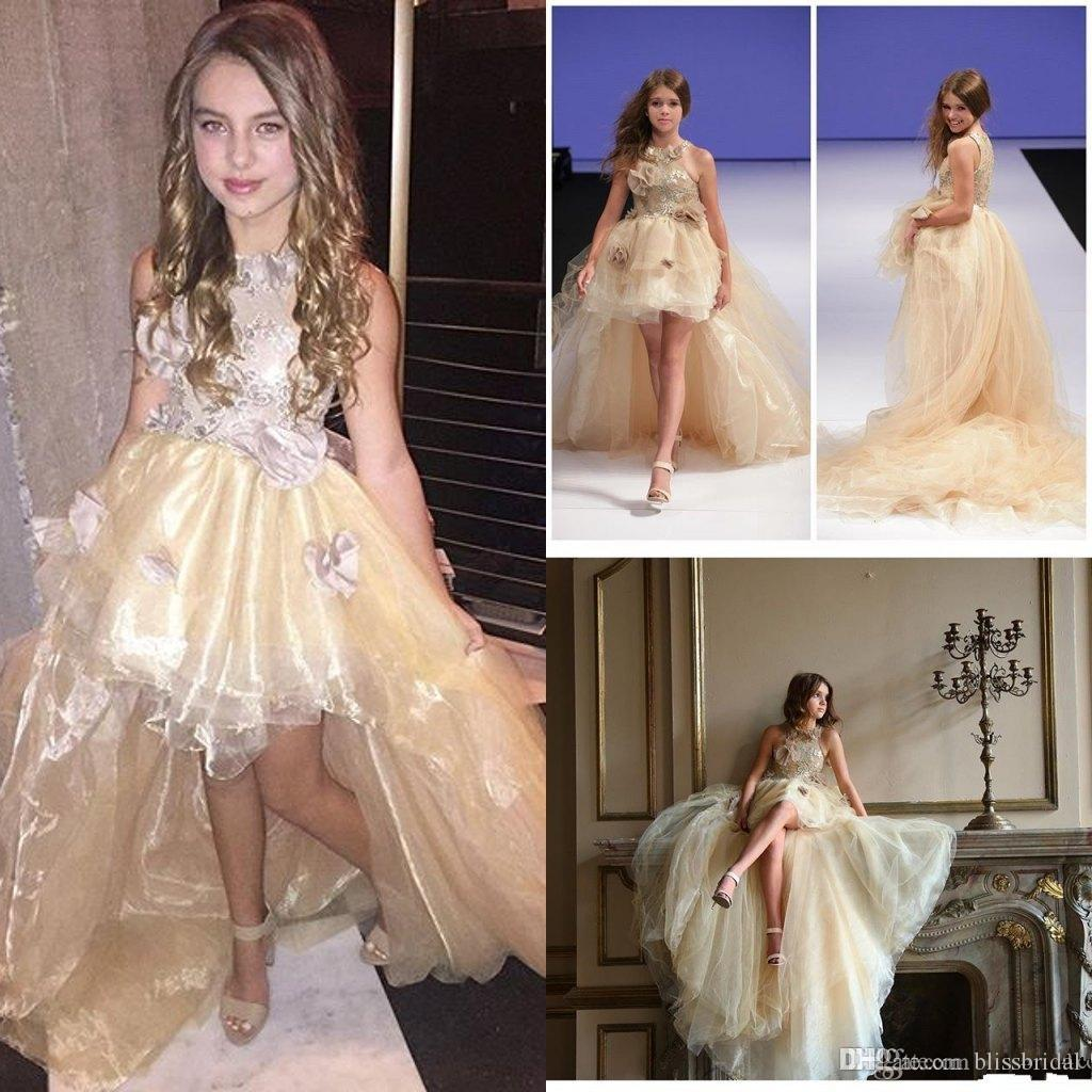 Charming Flower Girls Dresses For Wedding High Low ORGANZA Junior Pageant Gowns Gold Appliques Party Gowns With Hand Made Floral