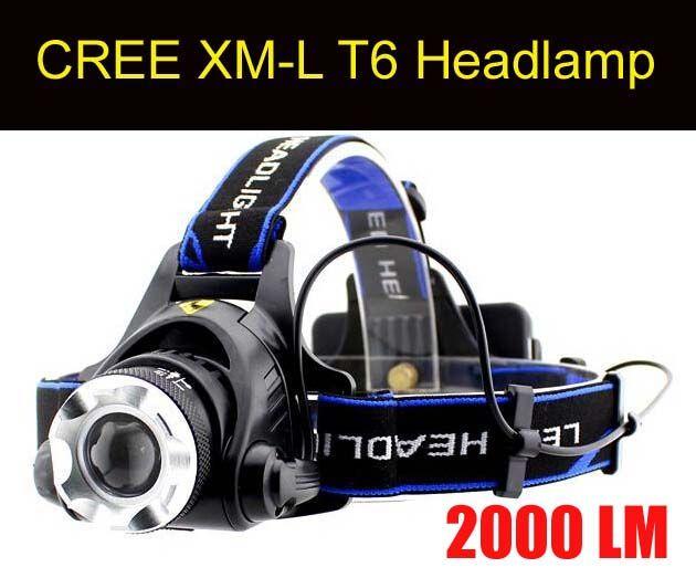 Gratis Eppacket Toppkvalitet 2000 Lumens Headlamp Cree XM-L T6 LED-strålkastare för huvudlampa Torch LED ficklampa Huvudlampa med 2PCS 18650 Batteri