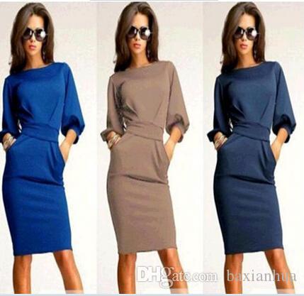 Wholesale-Plus Size Sexy knee length Women Dress 2016 Fashion Casual Women Winter Dress Slim Long Stretch Work Dresses LBD3085