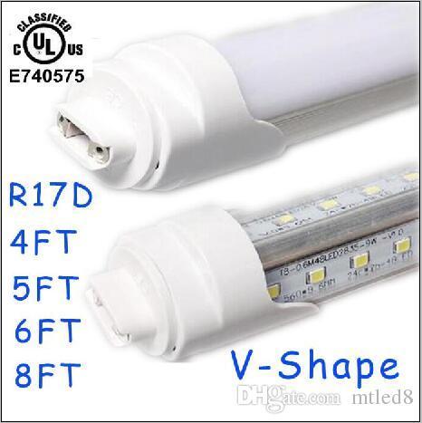 25st T8 LED Tube Light R17D 8FT 6FT 5FT 4FT 1.2m ~ 2,4m LED V FORM 270 ° Dubbelrasslampa för kyldörr 28W 65W-rör AC85-265V CE ul ul