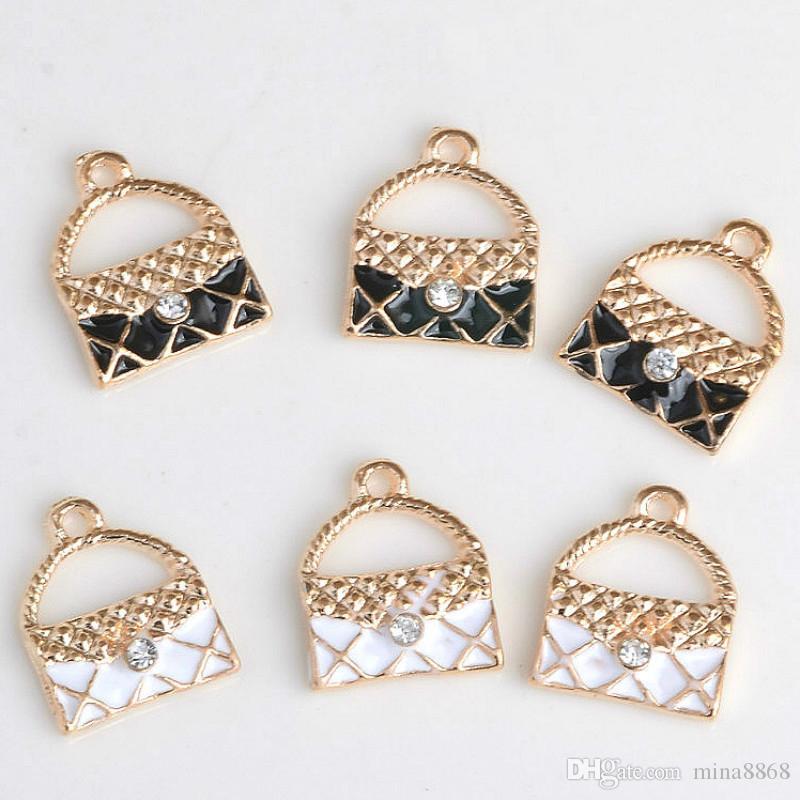 Moda 1.4 * 1.1 cm forma de la bolsa encantos colgante en forma de collar de la pulsera pulsera diy encantos hallazgos accesorios venta al por mayor