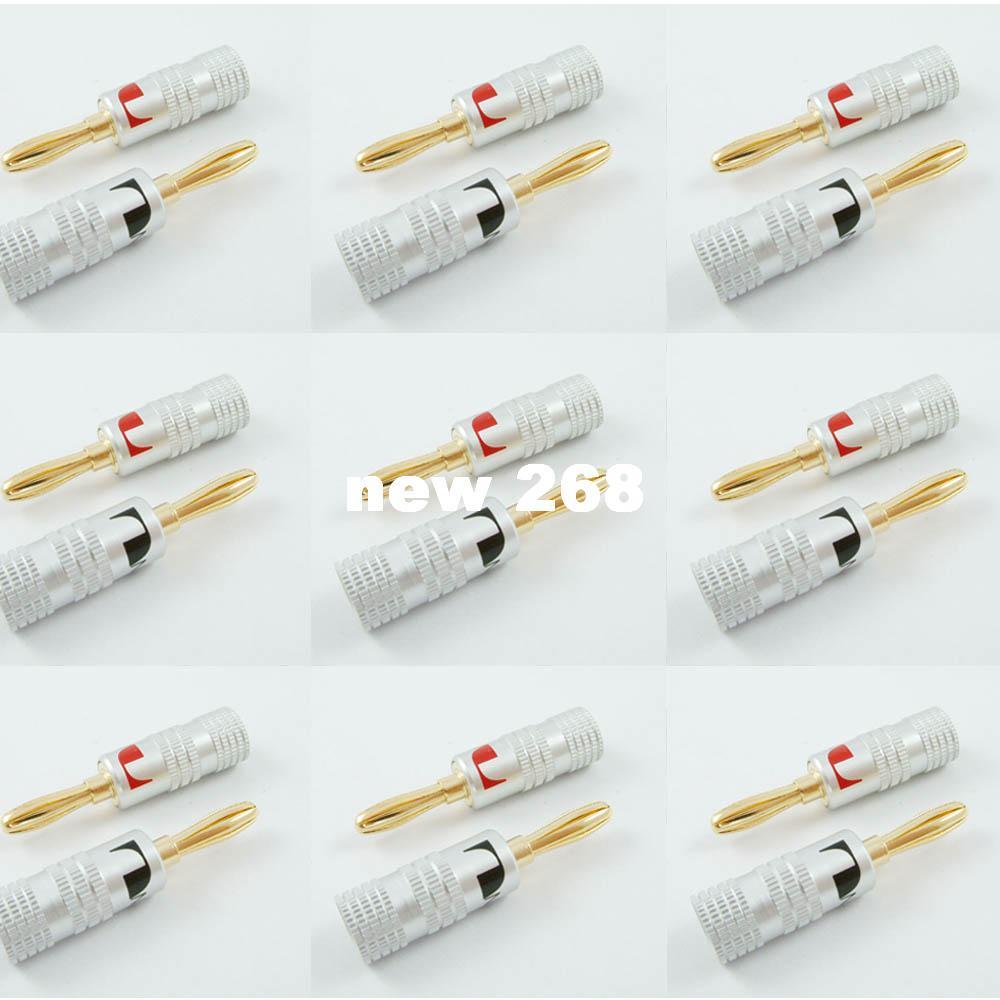 50pcs / 25 pares Nakamichi Speaker banana plug Audio Jack conector 24 K chapado en oro caliente