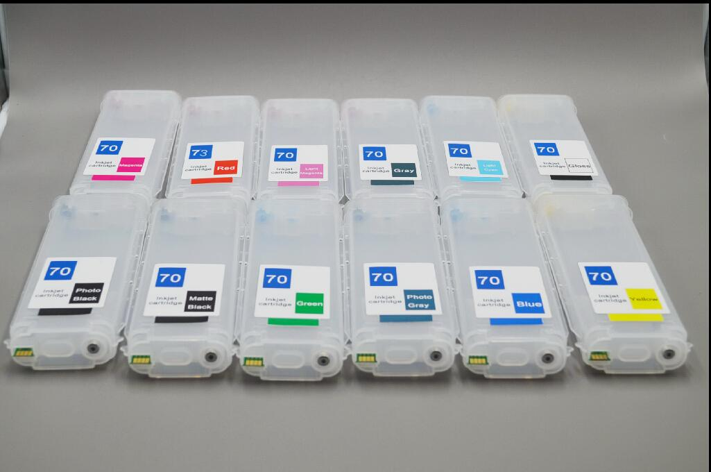 130ml 12 color-set,Empty DIY refillable ink cartridge with auto reset chips for HP designjet Z3200 printer
