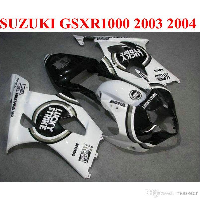 SUZUKI GSXR 1000 K3 K4 2003 2004 페어링 키트 GSXR1000 03 04 블랙 화이트 LUCKY STRIKE 맞춤형 페어링 CQ88 용 ABS 모토 바이크