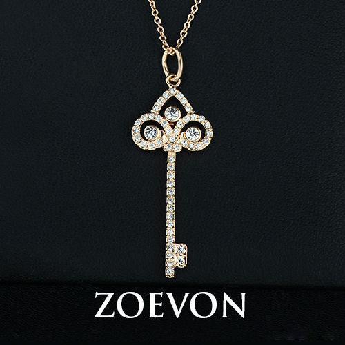 ZOEVON 2015 Gül Altın Kaplama ve Beyaz Altın Kaplama Avusturyalı Kristal Kadınlar için iris Anahtar Kolye Kolye Vintage Jewlery