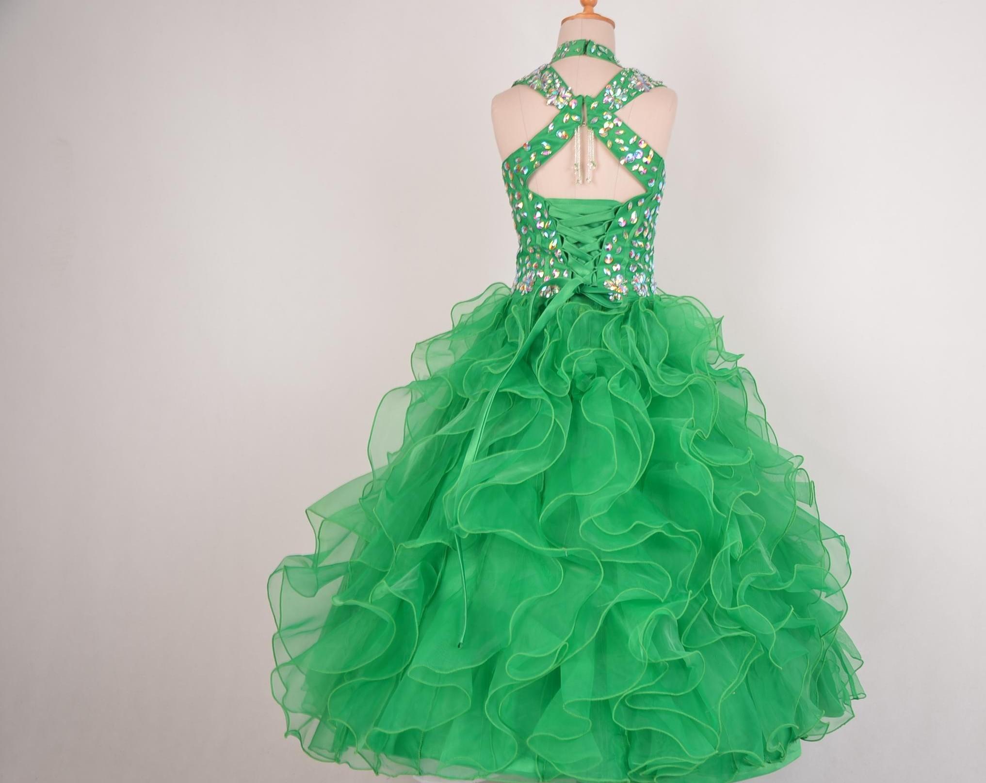Ritzee Girls 2021 new Beads Halter Girls Pageant Dresses Little Girl Ball Gown Big Kids Full Length Cap Sleeve Custom Made Girls Party Gowns