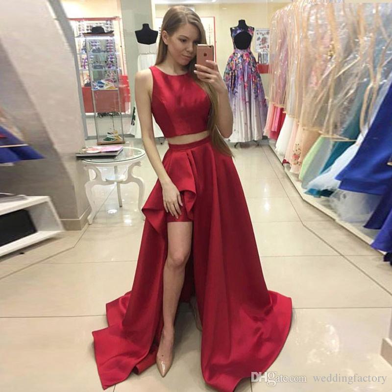 Nuovo arrivo Abiti da sera sexy Due pezzi Prom Dress Gioiello collo senza maniche Rosso scuro Borgogna Abito formale Asimmetrico Gonna divisa