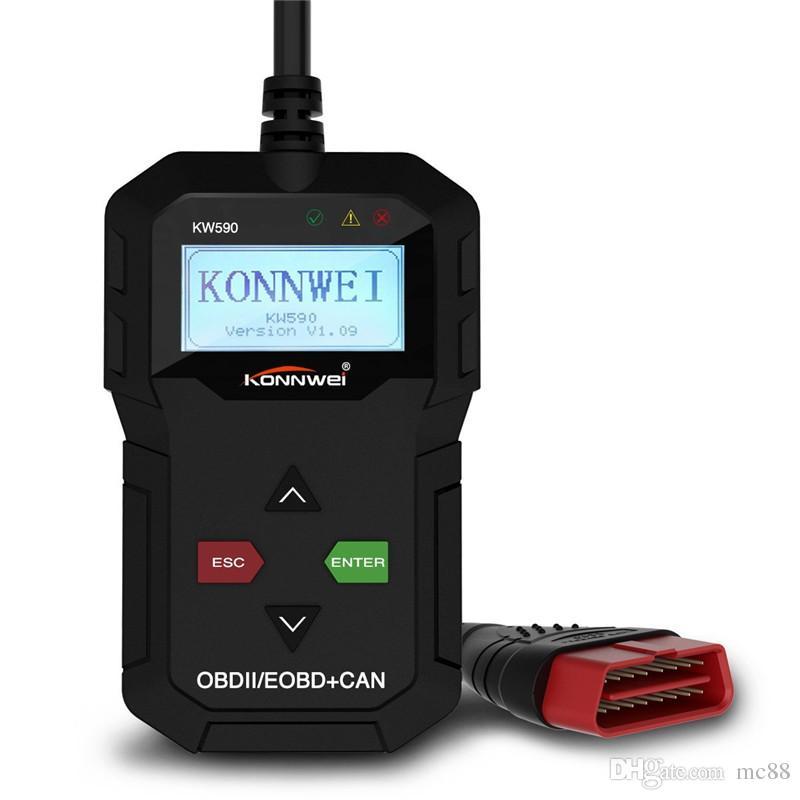 OBD2 Scanner,Universal OBD II CAN Diagnostic Scanner Car Engine Fault Code Reader-Scan Tool for Check Engine Light KW590 with O2 Sensor Test
